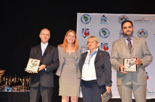 Sheldon Franco-Rooks, Estony Hattingh (President Botswana Judo), Elisabetta Fratini and Ziad Maafi.